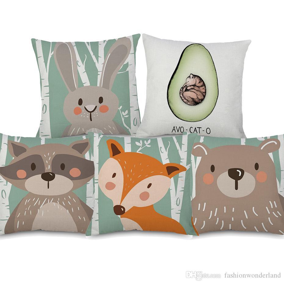 Acquista cartone animato orso volpe foresta di conigli cuscino