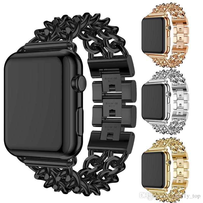 a0033217596ba Compre Correa De Acero Inoxidable De Moda Para Apple Watch 42 Mm 38 Mm Enlace  Pulsera Smartwatch Reemplazo Watchband Para Iwatch Serise 4 3 2 A  4.2 Del  ...