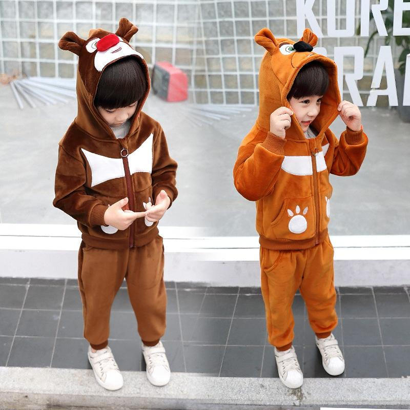 Kids Clothes Sets Autumn/Winter Boys Casual Gold Velvet Thickening Set Two-piece Hooded Zipper Simple Clothing Christmas Gift