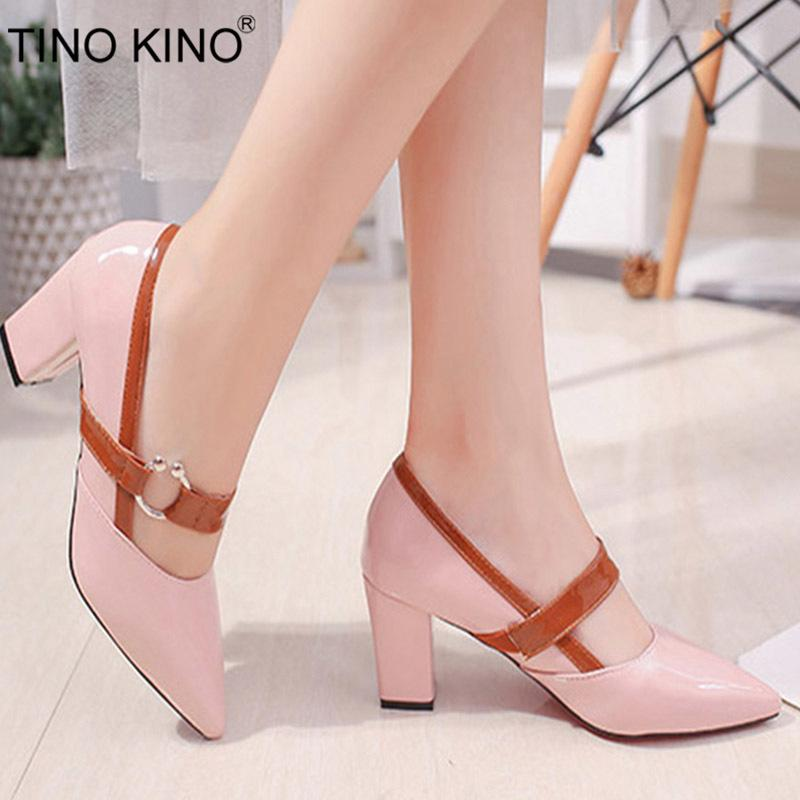 487daf306ad00 TINO KINO Women Pointed Toe Chunky Heel Autumn Dress Pumps Ladies Elegant  Mary Janes Female Slip In Metal Fashion Med Heel Black Shoes Nude Shoes  From Ru66, ...