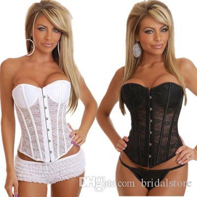 nouveau style b370e cf3bd corset noir blanc dentelle sous-vêtements de mariée sexy sans bretelles  voir à travers la dentelle lingerie de mariage avec soutien-gorge tasse pas  ...
