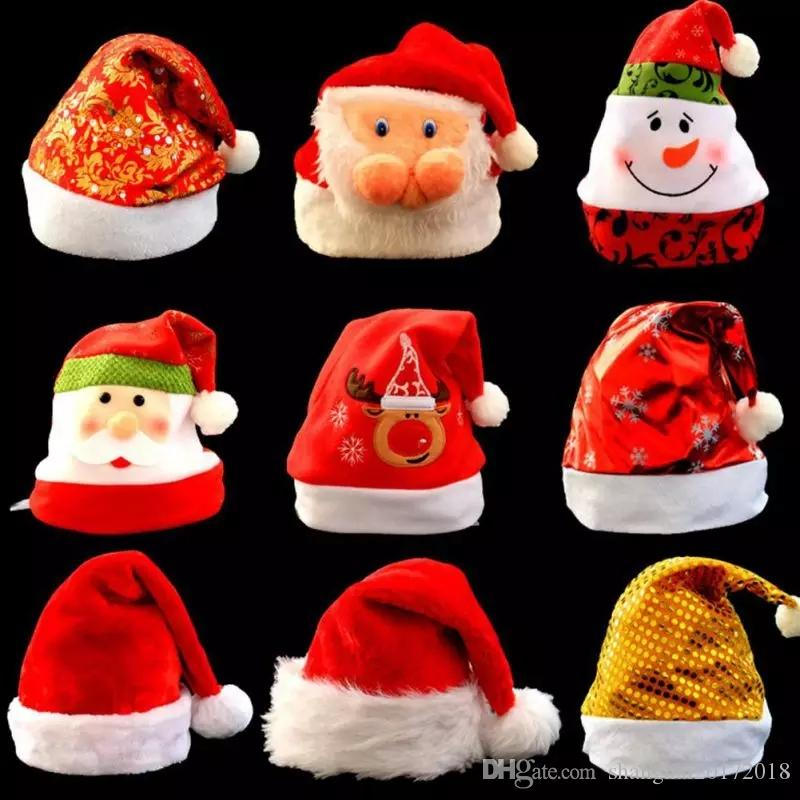 91d3446325ee2 Christmas Hats Cute Santa Claus Snowman Pattern Hats Multi Designs Christmas  Hats Adult Kids For Xmas Party Home Shop Decoration Barney Birthday Hats  Barney ...