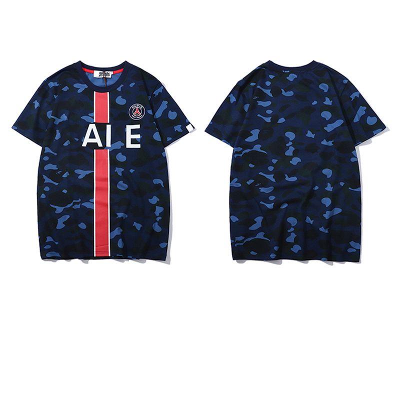 3f146a5920 19SS Paris Saint-Germain Camouflage Blue T-Shirt Trendy Casual Summer  Short-Sleeved Men And Women Couple Tee HFSSTX105