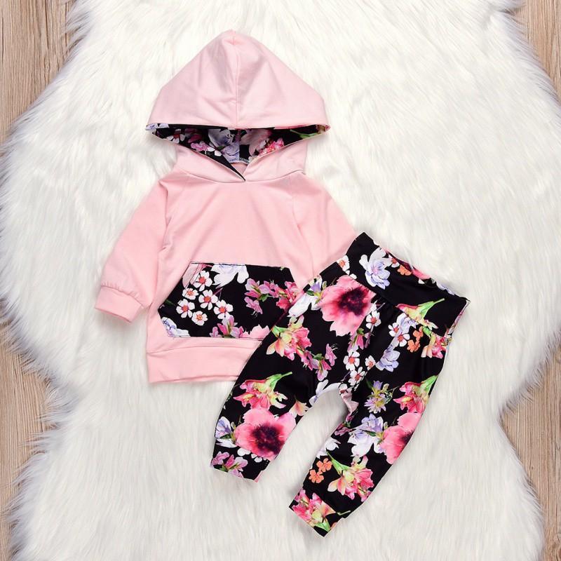 9b1772b09bcb 2019 2018 Winter Baby Girls Clothes Printed Floral Girls Pant Sets ...