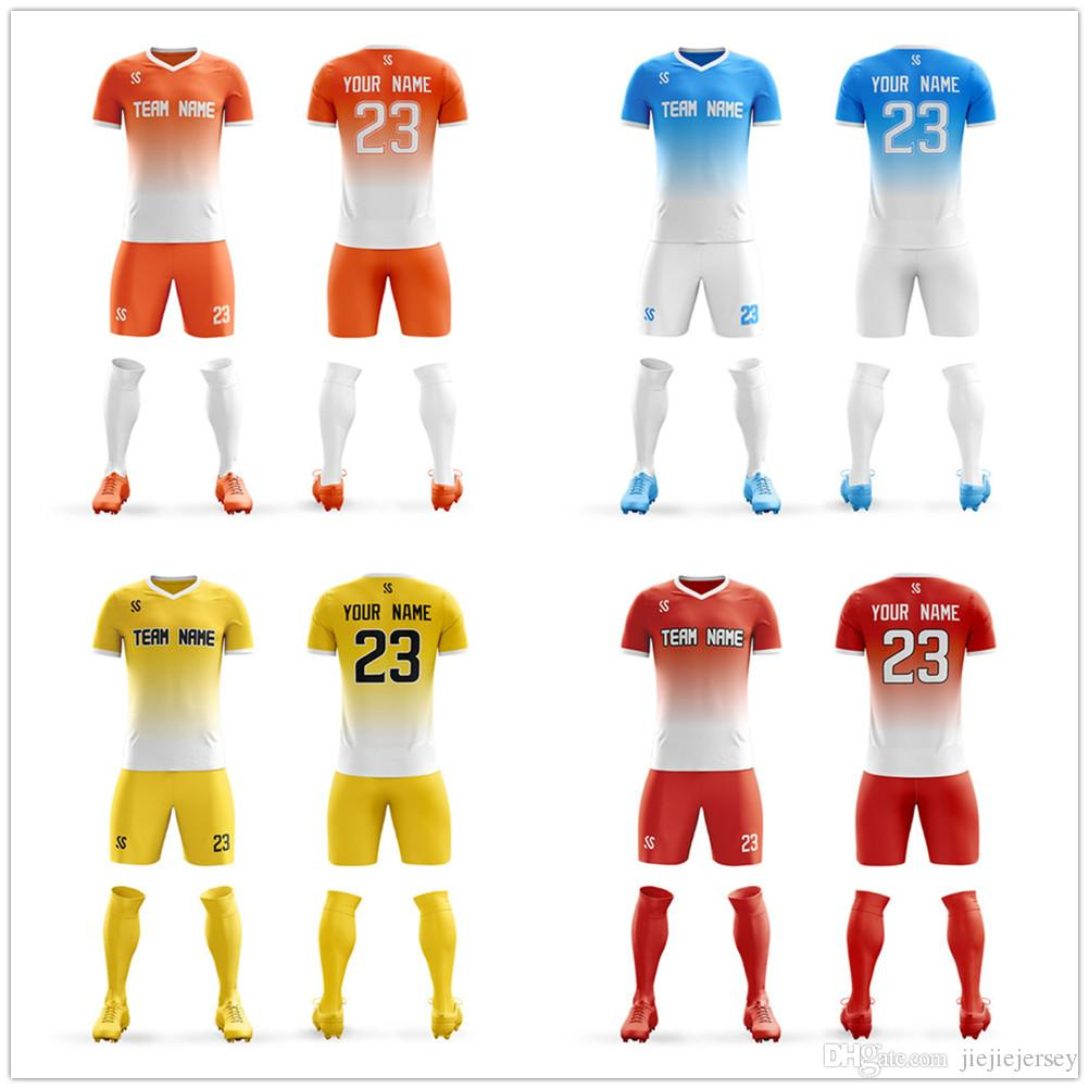 27d40c24c33 Custom sublimation thailand football shirts polyester quick-drying soccer  uniforms sets men's best siamese quality soccer jerseys