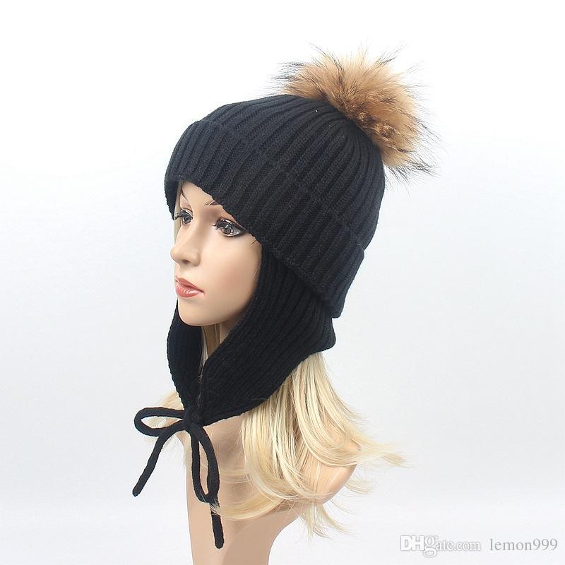 ca16b03e77d Women Winter Hats Earmuffs Beanie Knitting Caps For Women Warm Casual Knit  Hat Real Raccoon Fur Pom Pom Ball Hats Female Beanies Cap Baby Boy Hats  Black ...