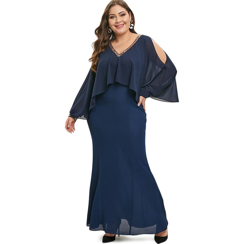 120364844a298 Wipalo Women Plus Size Sequin Embellished Overlay Maxi Dress Long Cloak  Sleeves Cold Shoulder Casual Solid Dress Party Vestidos