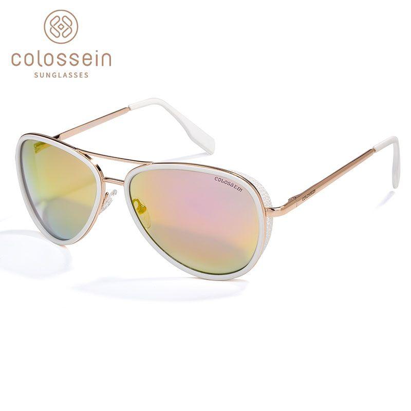 99557d0db1c COLOSSEIN Pilot Sunglasses Women Vintage Fashion Coating Sun Glasses Metal  Frame Men Outdoor Gafas De Sol UV400 UK 2019 From G6241163