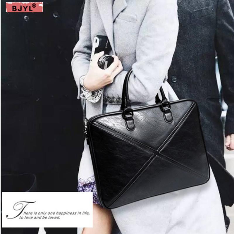 772beff30855 BJYL Men and Women briefcase thin section business 14 Laptop genuine  leather handbag female shoulder notebook messenger bag