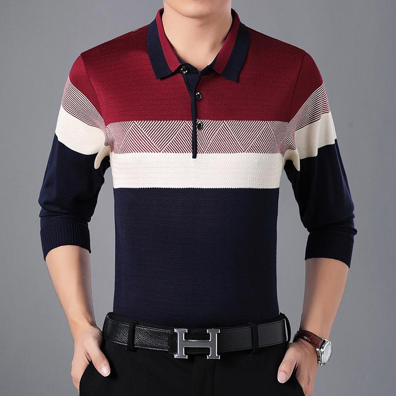 Compre 2019 Suéter A Rayas Para Hombre Suéteres Amarillos Negocios Rojos  Erkek Kazak Vetement Formal Homme Azul Sueter Hombre Ropa Barata China A   27.26 Del ... 996f0899aec7