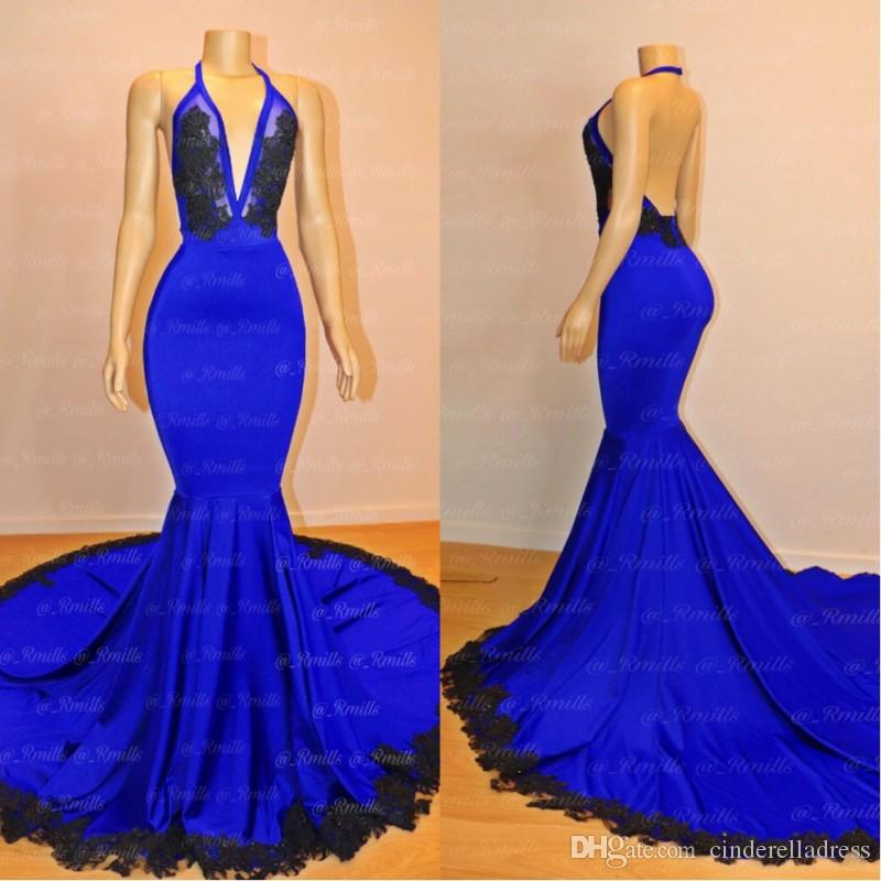 Sexy Plunging V Neck Royal Blue Prom Dresses 2019 New Mermaid Red Carpet Evening Gowns Celebrity Wear Backless Special Occasion Gown
