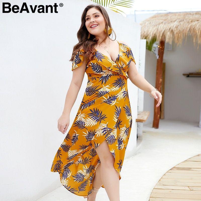 BeAvant Boho women summer dresses plus size Cold shoulder ruffle yellow  print maxi dress Holiday beach long ladies dress vestido