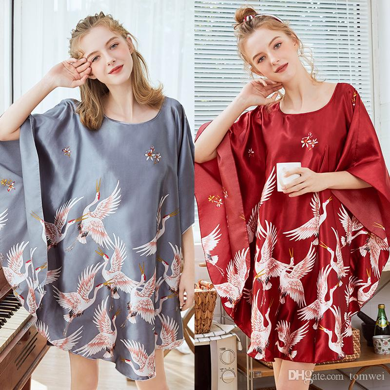3b18065c2179 Женские халаты сексуальная спальная одежда шелковая пижама женская летняя  ...
