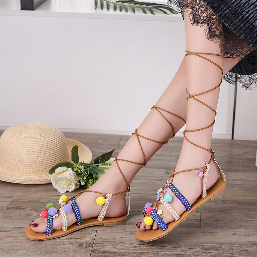 3671f97b6 2019 Women's Sandals Ankle Lace-Up Summer Ladies Beach Shoes Big Plus Size  Hairball Rome Sandal For girls Flat Heel Rome Casual