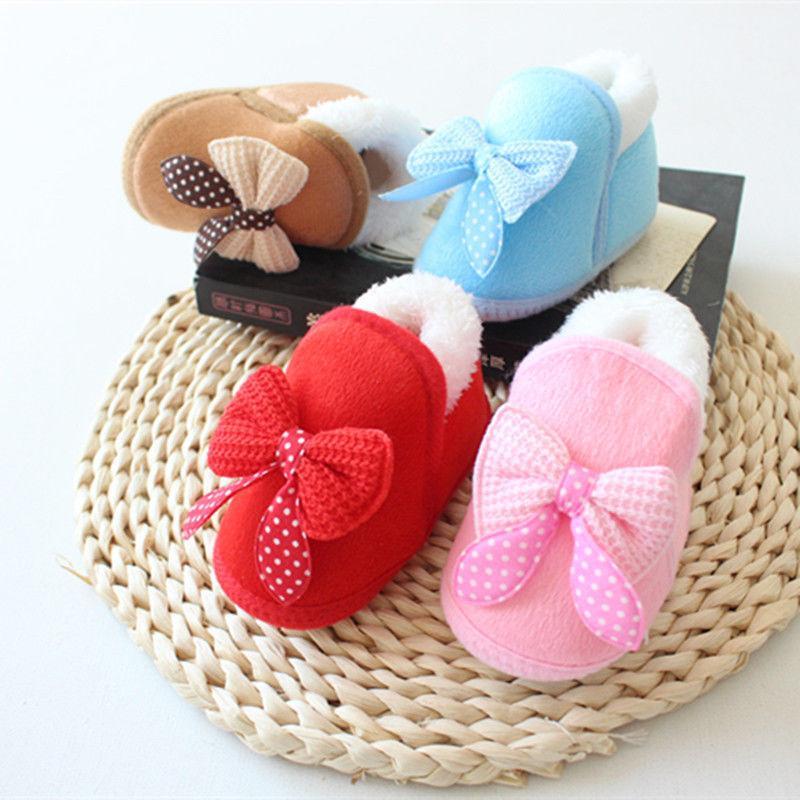 49ff81e39c Winter Warm Baby Girl Shoes Pram Crib Bow Slip On Cotton Soft Toddler  Infant Newborn Shoes Sneaker Prewalker Baby 0-18M
