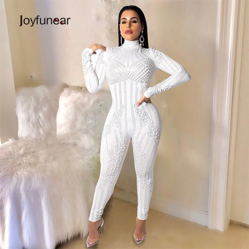 58428230d440 Joyfunear 2019 Stretchy High Neck Long Sleeve Skinny Jumpsuit For ...