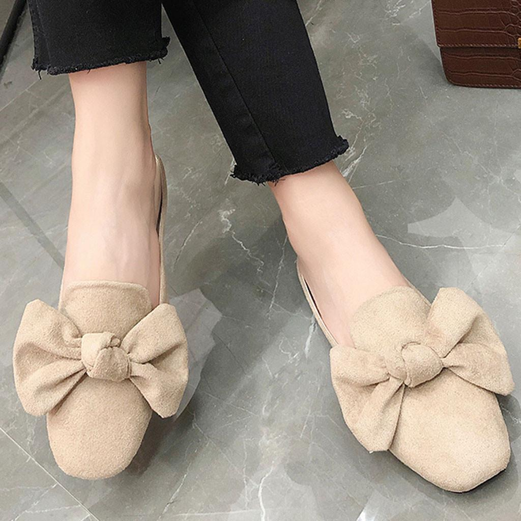 MUQGEW New Women's Flock Sandals Fashion Plus Size Summer Comfortable Non-Slip Sandals Slippers Casual Bow Buckle Sandal Female