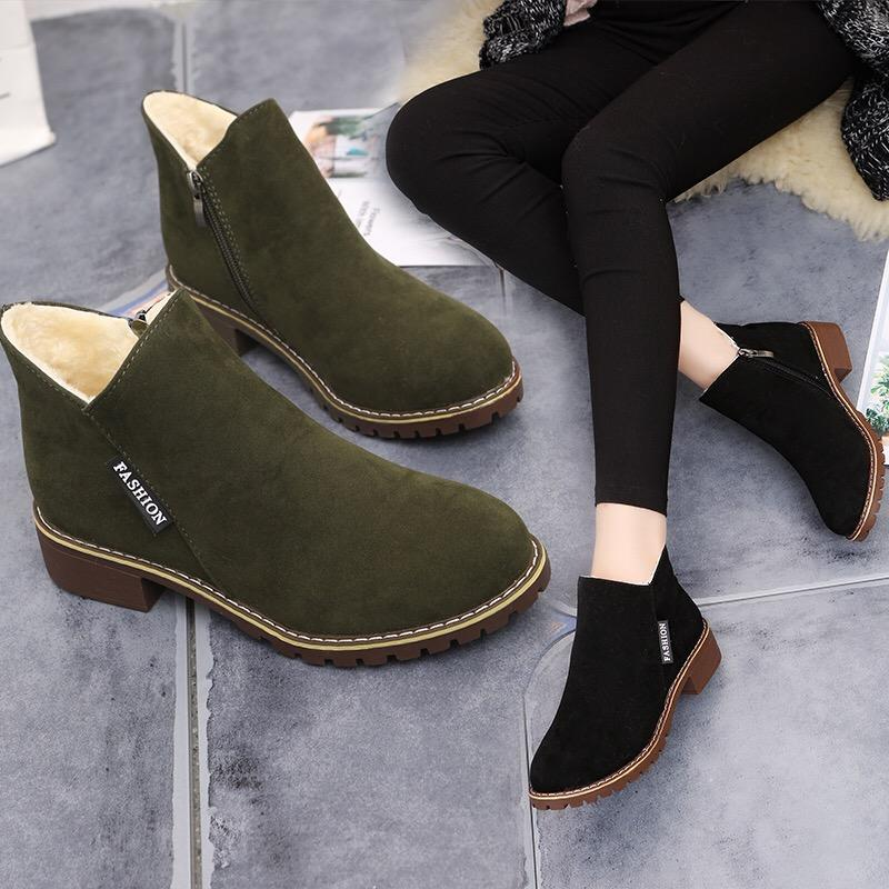 7c0c72ee1578 Winter Ankle Boots Women Boots Plush Warm Fleece Booties Footwear Female  Ladies Bota Women Flat Winter Shoes B Mid Calf Boots Womens Ankle Boots  From ...