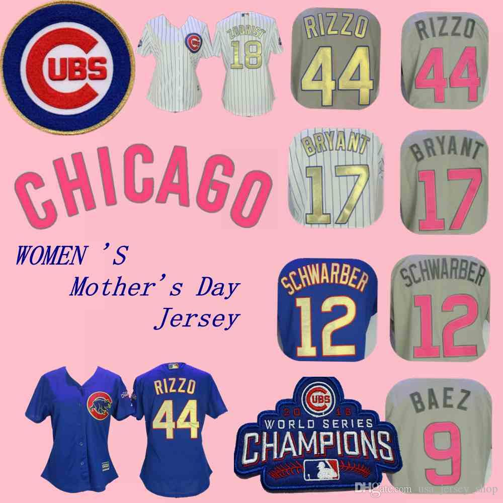 new product 7dc7a 51aa9 Women s Chicago Anthony Rizzo Jersey Cubs Kyle Schwarber Javier Baez Kris  Bryant Russell Zobrist World Series Champions Mother s Day Jerseys