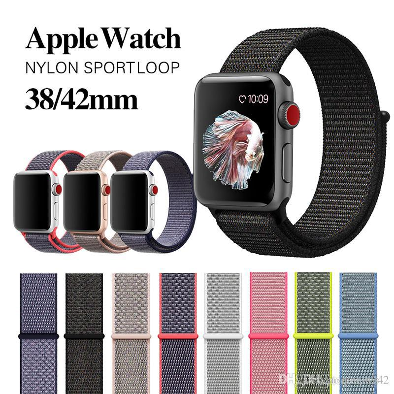 27 colores para Apple Watch iWatch Band 42mm 38mm watchBand 4 3 2 1 Correa de muñeca ajustable de nylon suave y transpirable con cierre deportivo