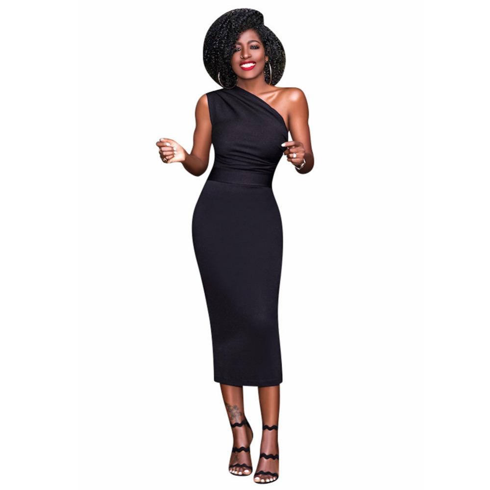af120c7b2d4 Acheter Sexy Femmes Moulante Mi Mollet Robe Une Épaule Taille Haute Bandage Robe  Moulante Sans Manches Party Clubwear 2018 Robe De Fourreau De  31.66 Du ...