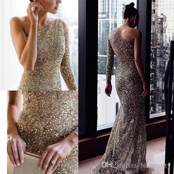 37de8fd2f1f Gorgeous One Shoulder Sleeve Sequined Beaded Prom Dresses Sexy Illusion  Mermaid Evening Pageant Party Gowns Custom Made Plus Size The Winner Prom  Dresses ...