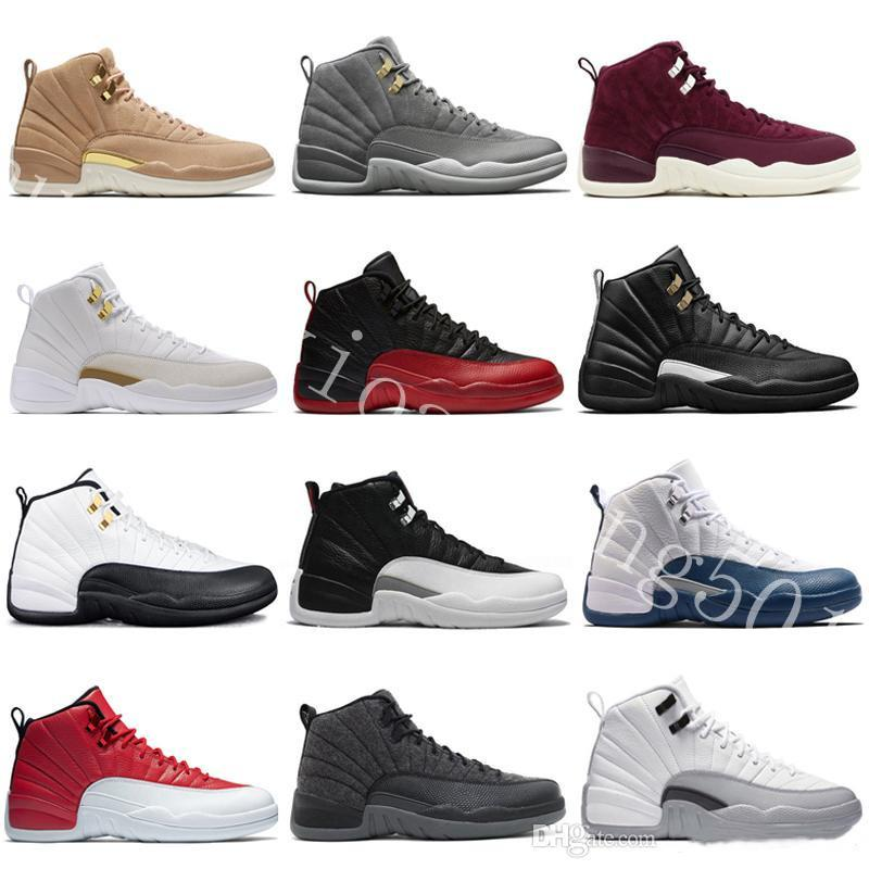 first rate 7f844 a4928 2019 Top Quality 12 12s OVO Michigan White Gym Red Dark Grey Basketball  Shoes Men Women Taxi Blue Suede Flu Game CNY International Sneakers