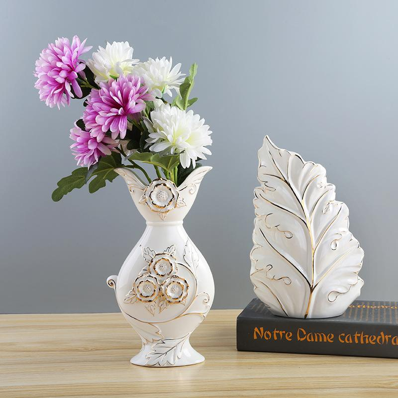 Modern Simple Ceramic Flower Arrangement Vase Creative Living Room Golden Dry Flower Ware European Home Decorations Large Colored Glass Vases Large ... & Modern Simple Ceramic Flower Arrangement Vase Creative Living Room ...