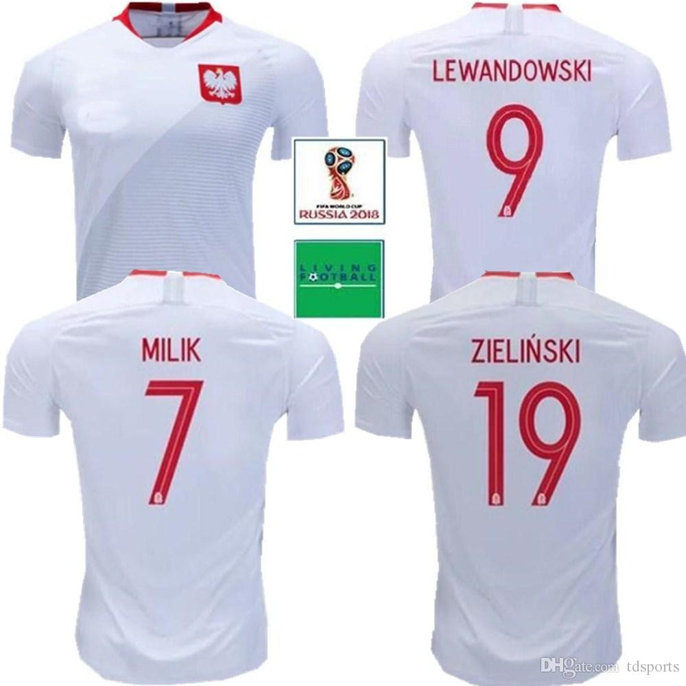lowest price 36a29 2c1ea 2018 POLAND short soccer jerseys Home Away lewandowski Glik krychowiak  KRYCHOWIAK 2019 Poland home away football jersey shirts