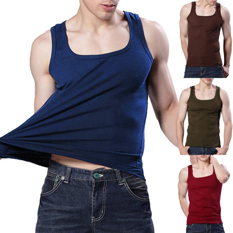 Men Running Vest Sweat Shapers Fitness Tights Tank Top Sleeveless Elastic Gym Male Vest Tee Slim Waist Trainer Corsets Shapewear Vests Sports & Entertainment