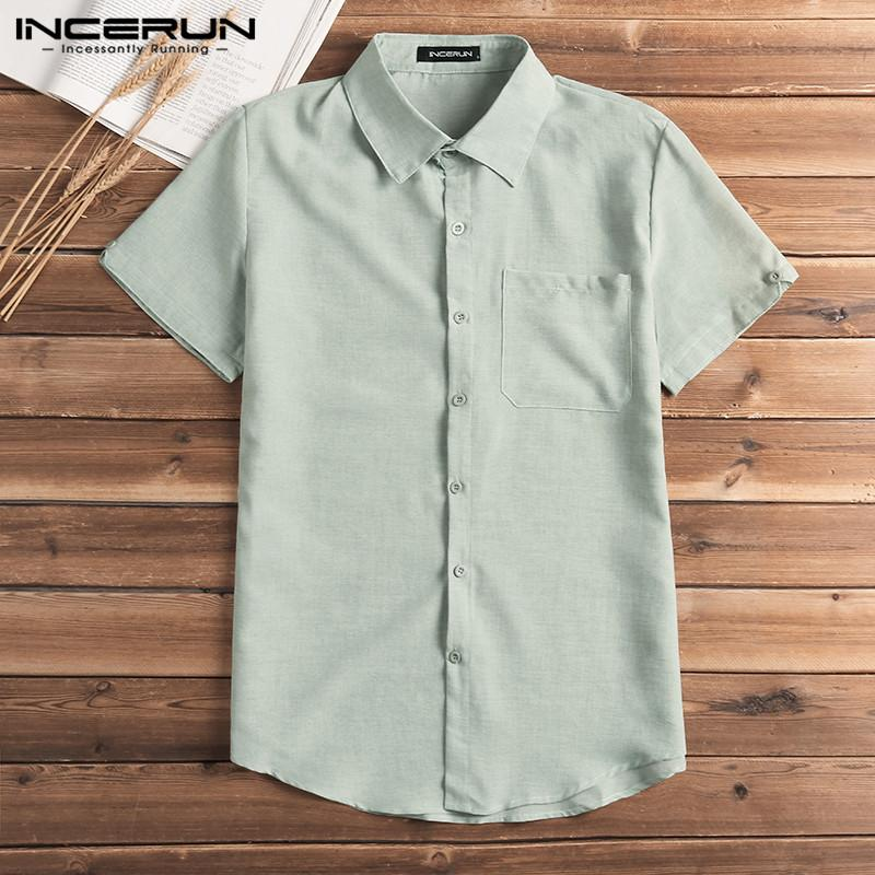 272f462cd7 2019 INCERUN Fashion Men Shirt Short Sleeve Button Solid Slim Fit Blouse  Tops Men Casual Streetwear Basic Dress Shirt Camisa 2019 From Suspender