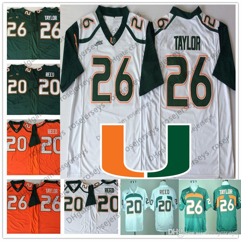 348580579 ... ireland 2019 ncaa miami hurricanes 26 sean taylor 20 ed reed 2018  vintage retried jerseys dark