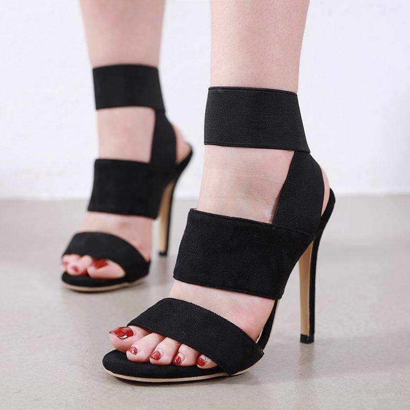 sexy lady black elastic band high heel luxury designer heels shoes size 35 to 40