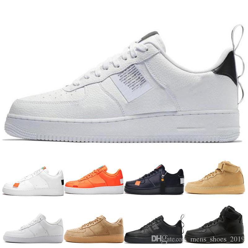 a58f4c164f Compre Nike Air Force 1 Pacote Clássico Branco Homens Sapatos De Basquete  Mulheres Orange Triplo Branco Preto Utilitário De Corte Alto Preto Branco  Linho ...