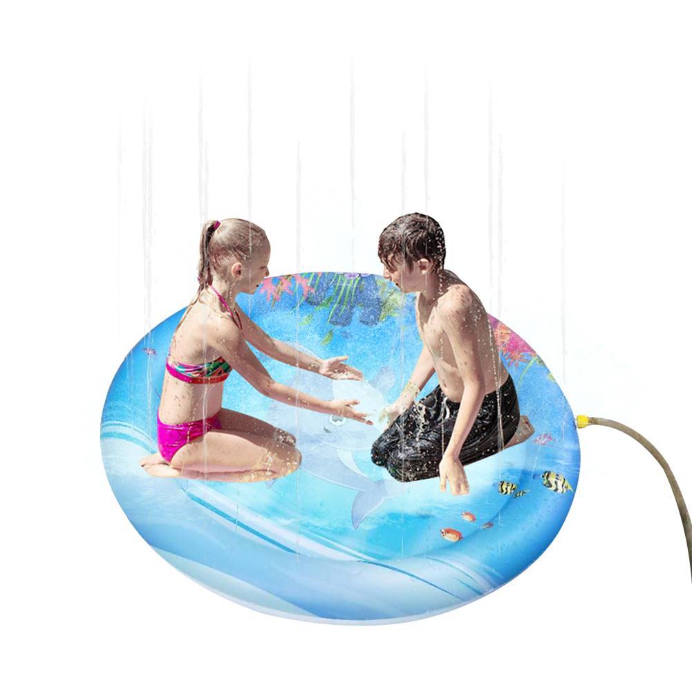 9b25ea6e1d14 100 cm Inflable Estera de juego Juguetes acuáticos Fiesta al aire libre  Aspersor Splash Pad para niños Deportes acuáticos Anillos de natación 1 ...