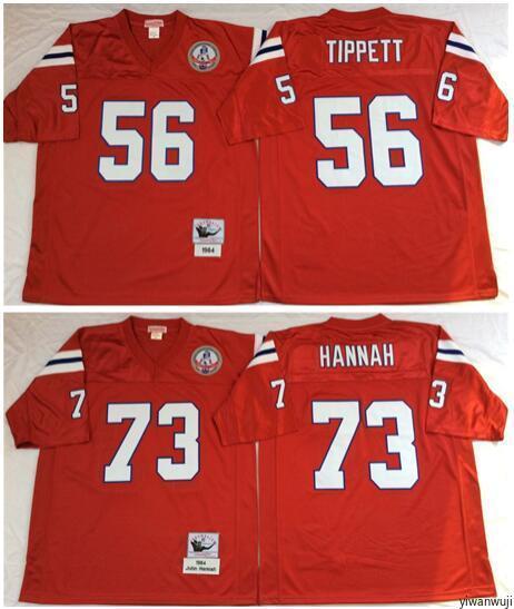 huge discount 7e58d b2d7f Throwback Men Football 73 John Hannah Jersey Vintage Patriots 56 Andre  Tippett Jerseys Team Color Red Breathable For Sport Fans Hot Sale