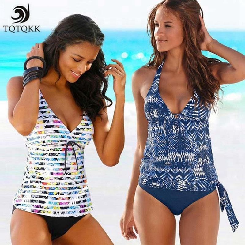 6d4f6748b4d0c 2019 Tqtqkk2019 Two Piece Tankini Swimsuits Women Swimwear Vintage Print  Plus Size Swimwear Women Padded Bathing Suit Bikini Set Xxxl Y19042203 From  ...