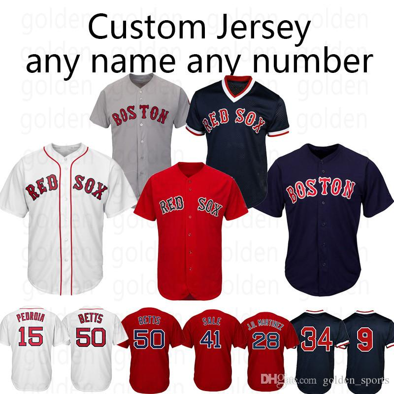 pretty nice e3bf3 7c322 Custom Game Jersey Boston Jersey Red Sox 15 Dustin Pedroia 50 Mookie Betts  9 Ted Williams 16 Andrew Benintendi any number any name