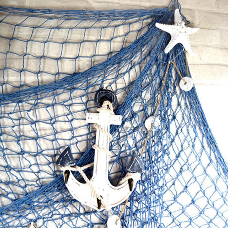 Akdeniz Tarzı Dekor Süsler Kenevir Halat Fotoğrafçılık Dikmeler Shell Balık Ağları Parti Dekorasyon A Asma Net Duvar Balıkçılık