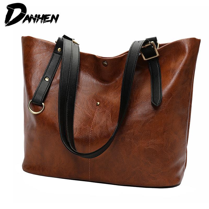 e48d43f688 2019 Fashion DANHEN High Quality PU Women Shoulder Bag Female Handbag  Causal Totes Shopping All Purpose Handbag For Women Leather Vintage  Wholesale Bags ...