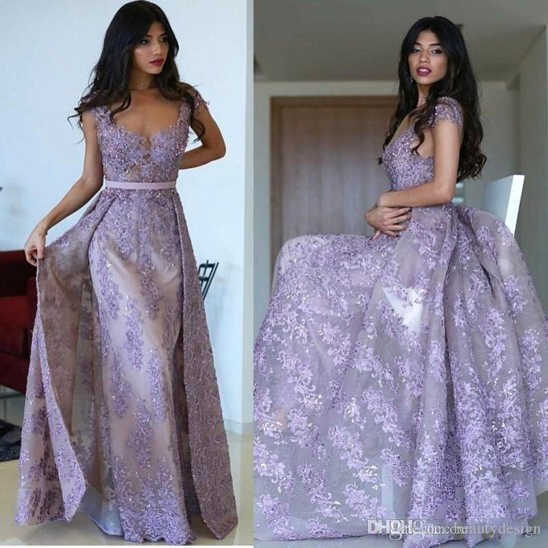 49222dd102a Elegant Cap Sleeves Lace Long Lavender Prom Dresses With Over Skirts 2019  Lace Appliques Beaded Sweep Train Formal Party Evening Gowns Dress Long  Fishtail ...