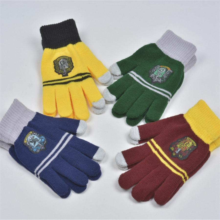 Harry Potter gestrickte Handschuhe Schule Gryffindor Slytherin Ravenclaw Hufflepuff Cosplay Winter warme Touch Screen Handschuhe TTA1819