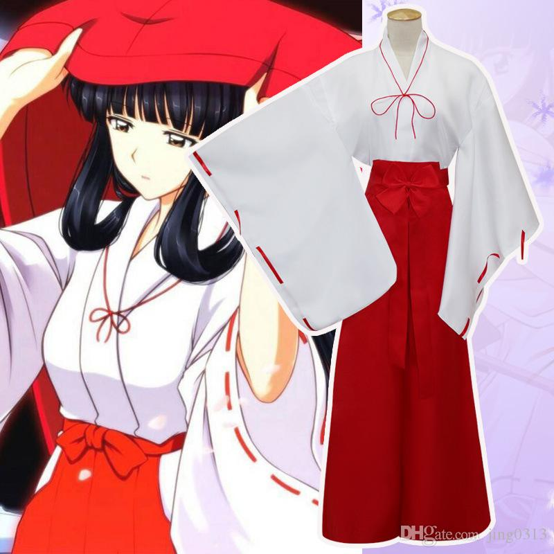 Japan Anime Inuyasha Kikyo Cosplay Costume Long Sleeve Halloween Kimono Cloak Uniform Full Set ( Asian Size )