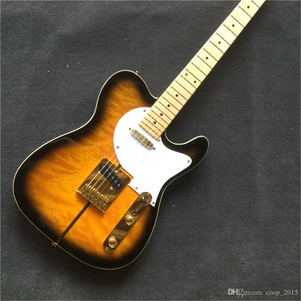 Free Shipping Hot Sale Electric Guitar with Tobacco Sunburst Color,White Pickguard,Quilted Maple Veneer and