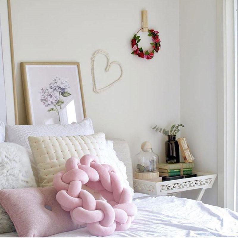 Bodenkissen Für Kinderzimmer   Grosshandel Handgemachte Knoten Kissen Rosa Jersey Gestrickte