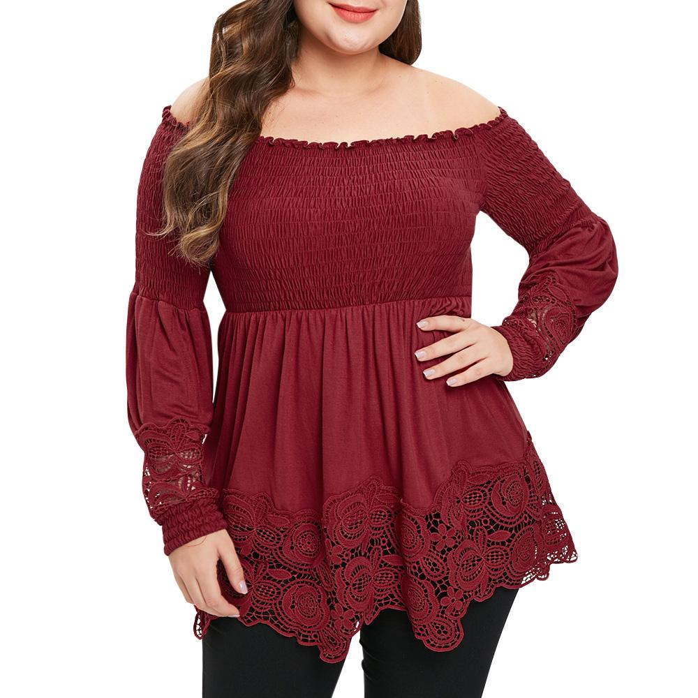 cf897c585a13a 2019 Wipalo Plus Size Women Blouses Spring Autumn Off Shoulder Long Sleeve  Smocked Blouse Lace Patchwork Casual Shirts Solid Red Tops From Dartcloth