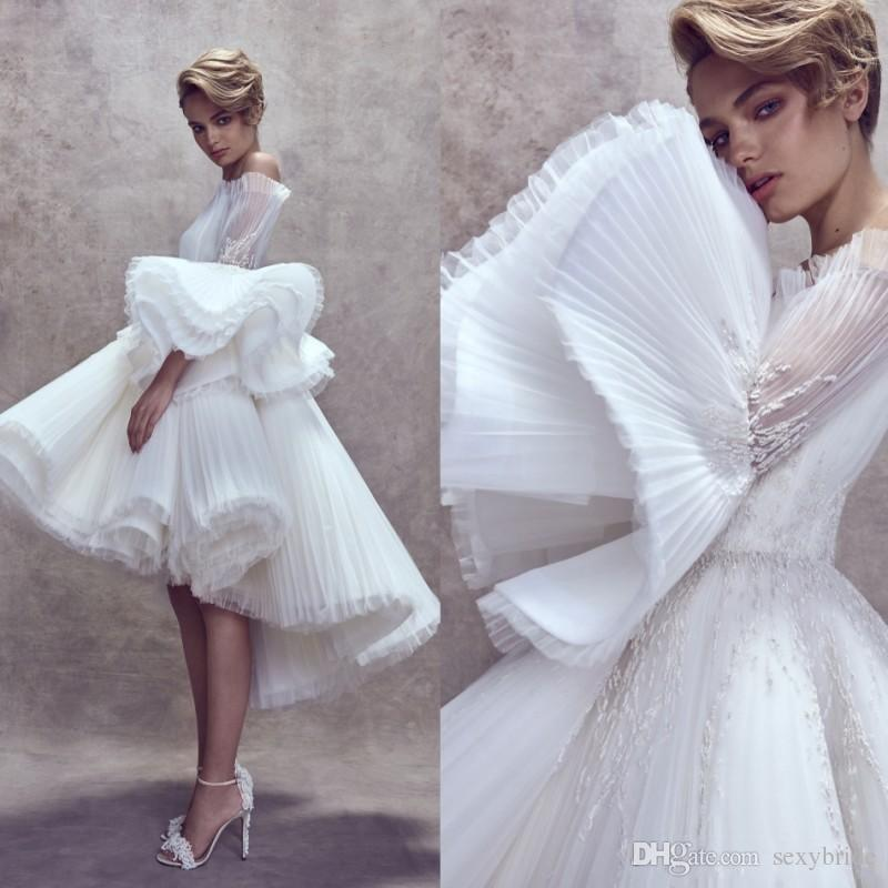 Unique Design White High Low Evening Dresses Ruffles Flare Sleeves Ashi Studio 2019 Appliques Off Shoulder Stylish Short Puffy Prom Gowns