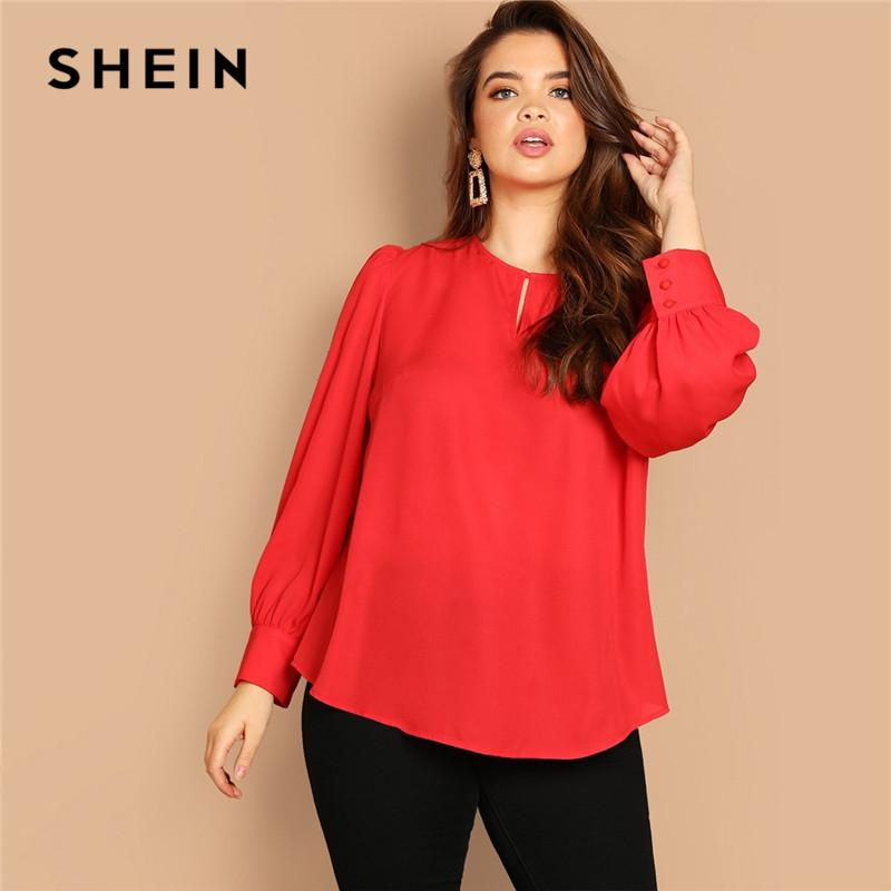 4cb099126a03a7 2019 SHEIN Blouse Red Cut Out O Neck Puff Long Sleeve Curved Hem Plus Size  Women Office Blouses Spring Solid Casual Tops From Edwiin04