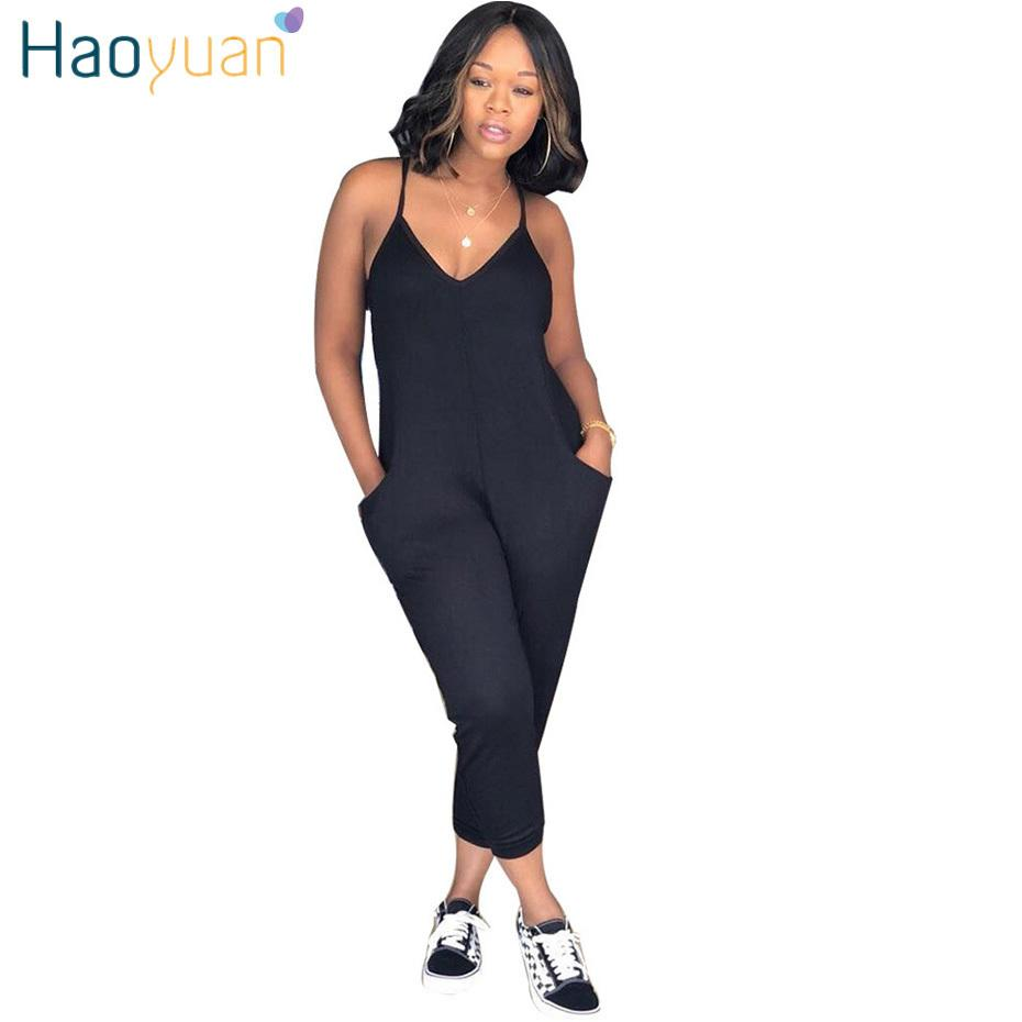 Haoyuan Plus Size Rompers Womens Jumpsuit Summer Overalls Ladies Elegant Spaghetti Strap V Neck One Piece Sexy Bodycon Jumpsuits Y19051501