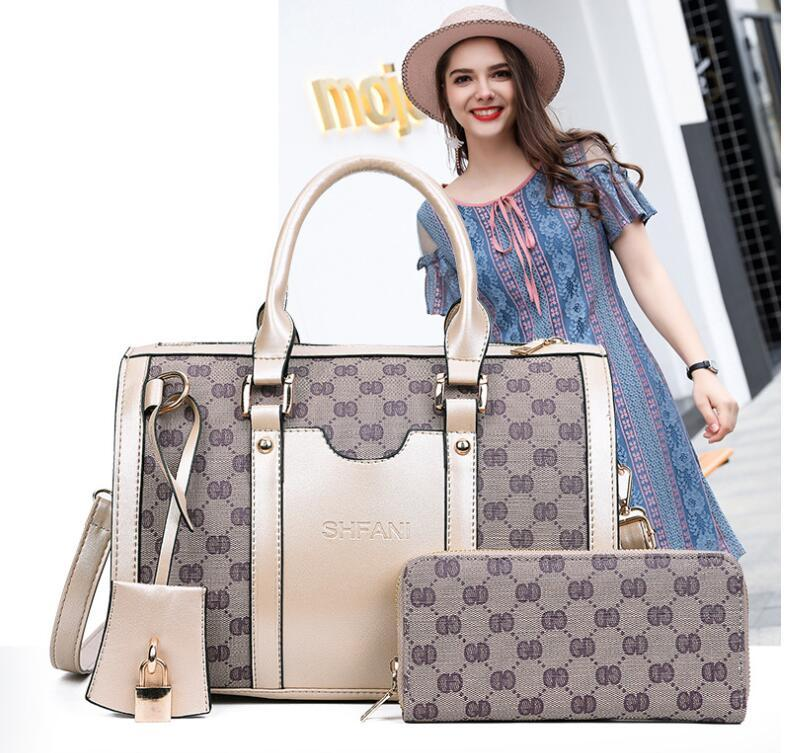 #168 hot 2017 new European and American fashion handbag two-piece set son mother bag trend women's bag single shoulder crossbody bag spot